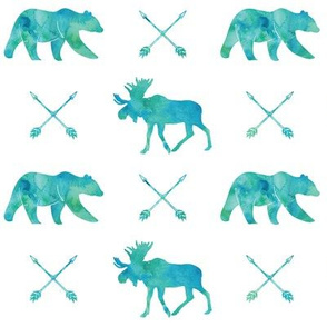 moose, bear, and arrows || watercolor blue and green