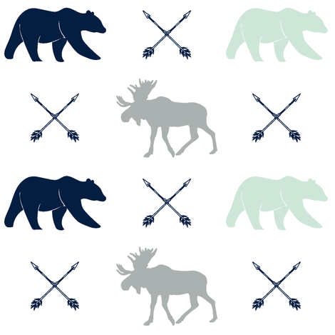 moose, bear, and arrows || the northern lights collection fabric by littlearrowdesign on Spoonflower - custom fabric