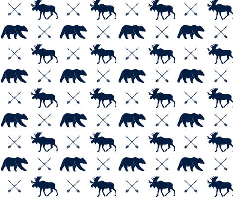 moose, bear, and arrows  || the northern lights collection - navy fabric by littlearrowdesign on Spoonflower - custom fabric