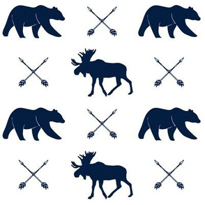 moose, bear, and arrows  || the northern lights collection - navy