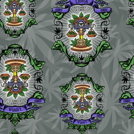 LIBRA: SMOKIN' ZODIAC fabric by just_get_high on Spoonflower - custom fabric