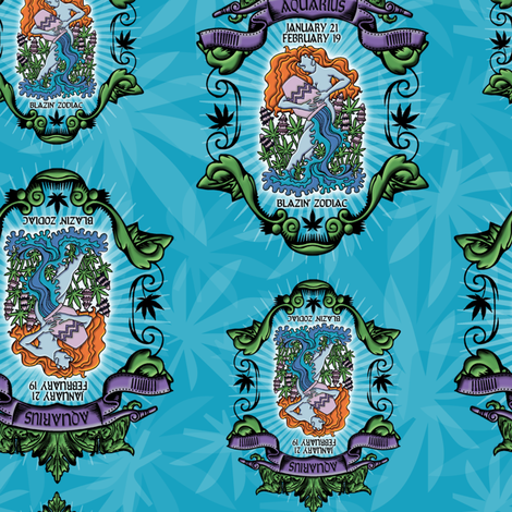 Aquarius smokin 39 zodiac fabric just get high spoonflower for Astrology fabric