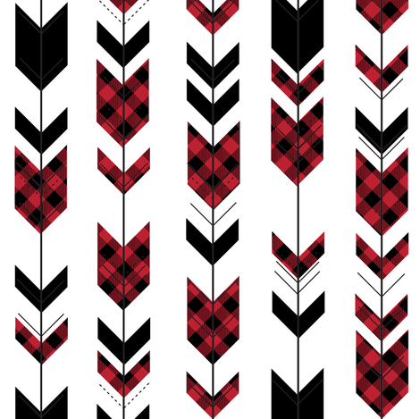 fletching arrows buffalo plaid (small scale) || the happy camper collection fabric by littlearrowdesign on Spoonflower - custom fabric