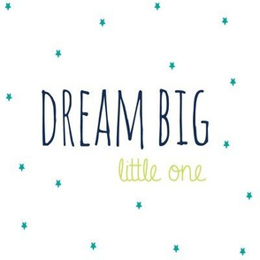Dream Big Little One in Lime Navy and Teal Stars