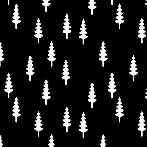 forest on black (small scale) || the happy camper collection fabric by littlearrowdesign on Spoonflower - custom fabric