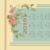 2019 Floral Calendar Tea Towel