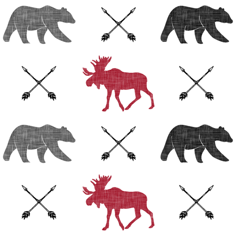 moose, bear, and arrows || the happy camper fabric by littlearrowdesign on Spoonflower - custom fabric