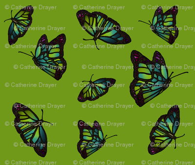 Nouveau Butterflies lime small