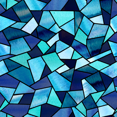 Stained Glass Blue fabric by sarah_coombs on Spoonflower - custom fabric