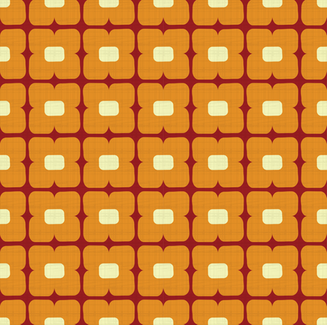 Square floral orange fabric by danidesign on Spoonflower - custom fabric