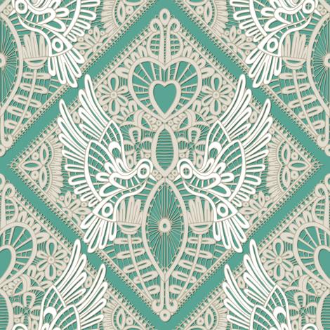 love bird lace mint fabric by scrummy on Spoonflower - custom fabric