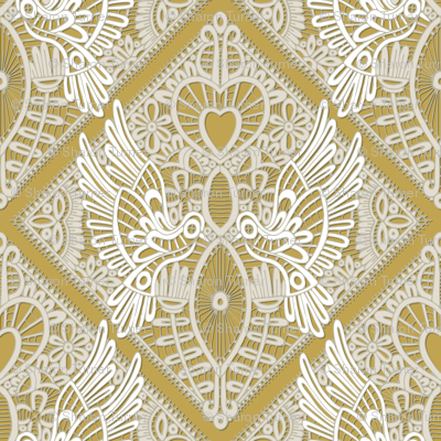 love bird lace gold