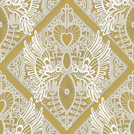love bird lace gold fabric by scrummy on Spoonflower - custom fabric