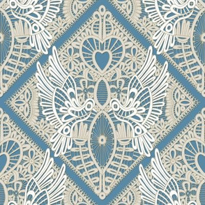 love bird lace blue