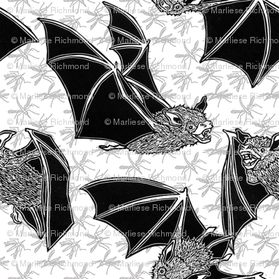 Flying bats and insects
