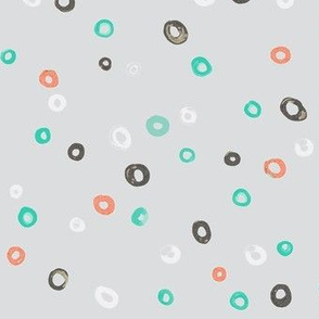 Turquoise, Gray, Tomato, White Watercolor Dots-ch-ch-ch