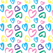 Colorful Hearts with Love (Small) / Happy Valentine's Day Hand Drawn Hearts / I Love You Baby