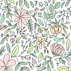 Flower Garden Outlines - Peachy Pink Colored
