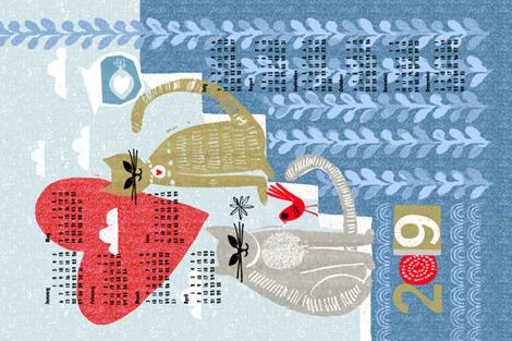 cats at home 2019 tea towel calendar fabric by ottomanbrim on Spoonflower - custom fabric