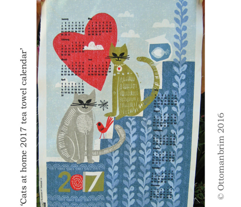 cats at home 2017 tea towel calendar