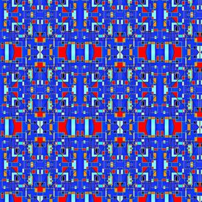 Blue & Red Geometric Mirror