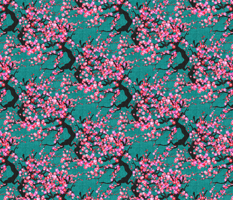 Cherry Blossom Orcha fabric by abbieuproot on Spoonflower - custom fabric