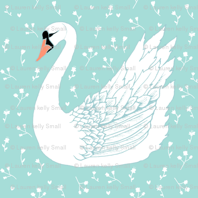 SWAN in aqua with white flowers