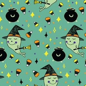 Cute Witch and Couldron with Candy Corn