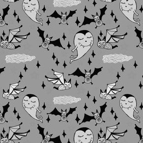 Vampure and Bats on Halloween in Gray Scale