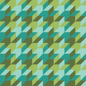 harlequin houndstooth in teal and jade
