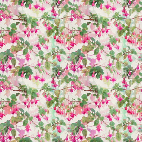 Rainbow Fuchsia Floral Painted Pattern Small Print fabric by micklyn on Spoonflower - custom fabric