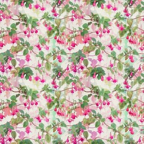 Rainbow Fuchsia Floral Painted Pattern Small Print