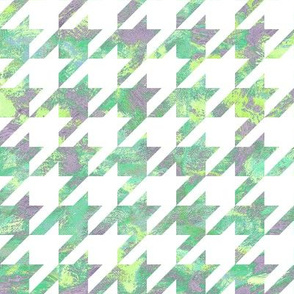 painted houndstooth - lime, purple and green