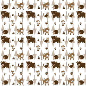 Forest_Fabric Deer Bear Fox Mushroom Owl Acorn