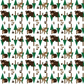 Forest_Fabric2 Bear Deer Pine Trees Fox Acorn Owl Mushrooms