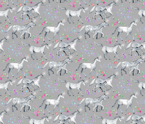Mom and baby unicorns with stars on soft grey fabric by micklyn on Spoonflower - custom fabric