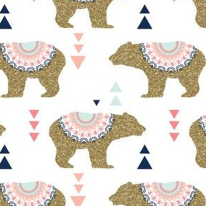 Gold Glitter Bears + Triangles in Blush Pink + Coral + Navy  + Aqua Mist