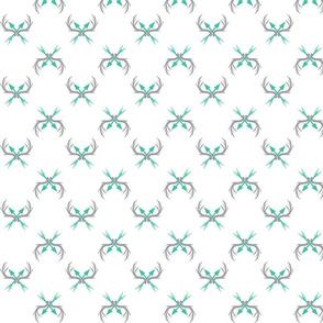 Deer Racks Fabric Teal and Grey Arrows