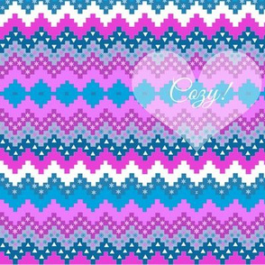 Christmas Snowflake, Holiday Stripe, Cozy , Holidays fabric, Pink and teal, hygge,
