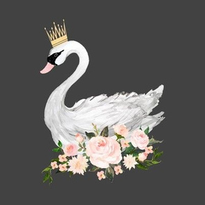Swan with Roses in Grey