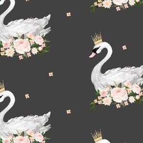 "Swan with Roses 4"" in Grey"