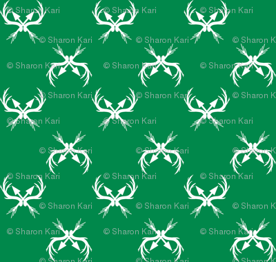 Deer_Racks_Fabric Green and White