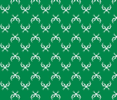 Deer_Racks_Fabric Green and White fabric by tatumandtessa on Spoonflower - custom fabric