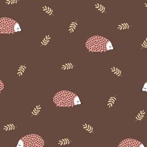 hedgehog pink on brown