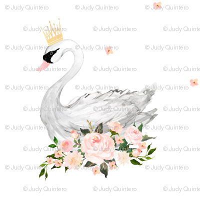 "Swan with Roses 4"" in White"