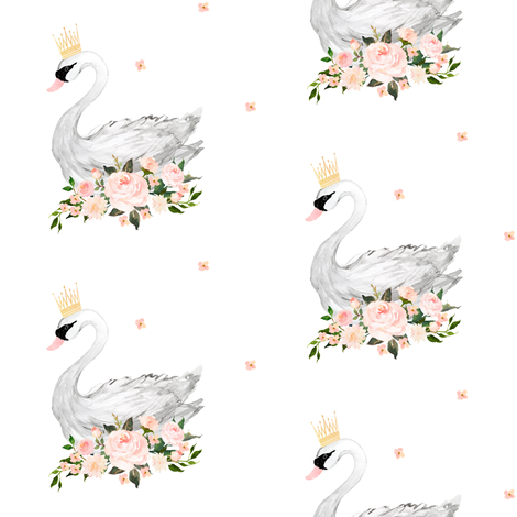"Swan with Roses 4"" in White fabric by shopcabin on Spoonflower - custom fabric"