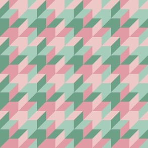 harlequin houndstooth - hyacinth and mint