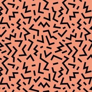Cool geometric eighties retro confetti style memphis zigzag strokes orange fall