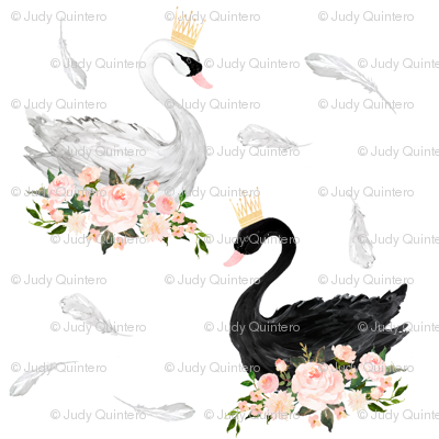 "7"" Black & White Swan with Feathers"