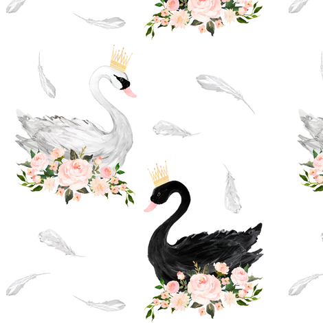 "7"" Black & White Swan with Feathers  fabric by shopcabin on Spoonflower - custom fabric"